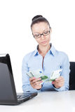 Businesswoman  with euros in hands Stock Image