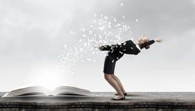 Businesswoman evades splash ideas Stock Photos