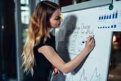 Businesswoman evaluating risks of a new business strategy drawing a chart on whiteboard standing in a conference room.  Stock Photos