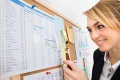 Businesswoman examining gantt chart with magnifying glass Stock Photography