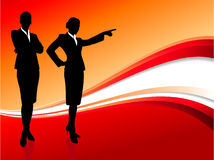 Businesswoman executive on abstract red background Stock Photo