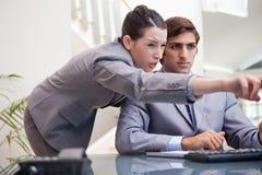 Businesswoman explaining computer program Stock Photos