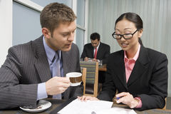 Businesswoman Explaining Contraction To Her Business Partner Royalty Free Stock Images