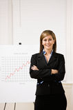 Businesswoman explaining financial analysis chart Royalty Free Stock Images