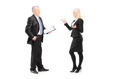 Businesswoman explaining an idea to her boss Stock Image