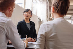 Businesswoman explaining new business ideas to colleagues. Royalty Free Stock Photos