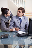 Businesswoman explaining something to her colleague Stock Image