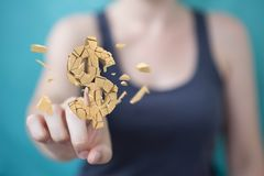 Businesswoman with exploding dollar currency 3D rendering. Businesswoman on blurred background with exploding dollar currency 3D rendering Royalty Free Stock Photo