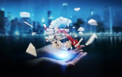 Businesswoman with exploding euro currency 3D rendering. Businesswoman on blurred background with exploding dollar currency 3D rendering Stock Photography