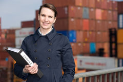Businesswoman in export Royalty Free Stock Photos