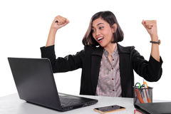 Businesswoman expressing happiness Stock Image
