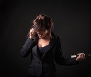 Businesswoman expressive talking on a cell phone Stock Photo