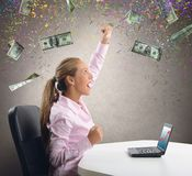 Businesswoman exults for her money Stock Photos