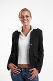 Businesswoman with eyeglasses. Young blond usinesswoman with eyeglasses stock photography