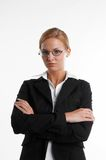 Businesswoman with eyeglasses. Young blond businesswoman with eyeglasses Royalty Free Stock Photo