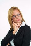 Businesswoman with eyeglasses. Young blond businesswoman with eyeglasses Stock Photo