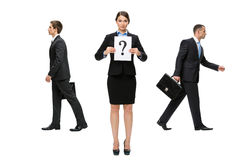 Businesswoman facing a difficult decision. Thinking businesswoman. Concept of problem and solution Stock Image