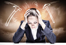Businesswoman facing problems Royalty Free Stock Image