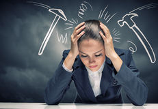 Businesswoman facing problems Stock Images