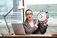 The businesswoman failing to meet challenging deadlines Stock Images