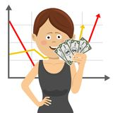 Businesswoman with fan of money over positive graph Royalty Free Stock Photography