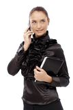 Businesswoman in fancy black shirt Stock Images