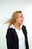 Businesswoman and fear. Young blond businesswoman and fear Royalty Free Stock Photo