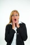 Businesswoman and fear. Young blond businesswoman and fear Stock Images