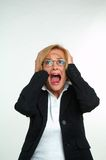 Businesswoman and fear Stock Photo