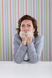 Businesswoman with fear. Looking up royalty free stock image