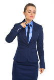 Businesswoman feeling hot under the collar and stressed Royalty Free Stock Photo