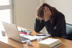 Businesswoman feeling stress from work royalty free stock images