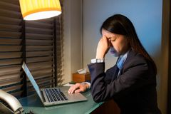 Businesswoman feeling tired when working over night Royalty Free Stock Image