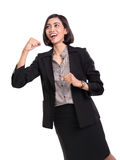 Businesswoman feels excited, isolated on white Stock Image