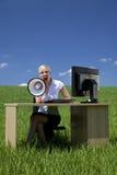 businesswoman field green megaphone using Στοκ Εικόνα