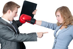 Businesswoman fighting off the boss. Business Women defends from her boss Royalty Free Stock Photos