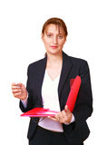 Businesswoman with file Stock Photos