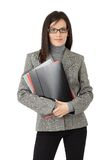 Businesswoman with file folders Royalty Free Stock Photos