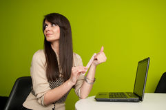 Businesswoman filing nails Royalty Free Stock Image