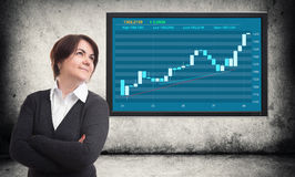 Businesswoman and financial graph on screen Stock Photos