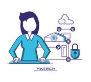 Businesswoman with financial technology icons. Vector illustration design Stock Photos