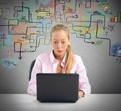 Businesswoman find a solution. Businesswoman working and try to find a solution Stock Photography