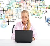 Businesswoman find a solution. Businesswoman working and try to find a solution Royalty Free Stock Photos
