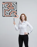 Businesswoman finding the maze solution writing on. Young businesswoman finding the maze solution writing on the whiteboard stock photos