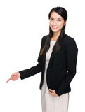 Businesswoman with finger point down Royalty Free Stock Photo