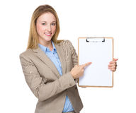 Businesswoman finger point to blank clipboard. Isolated on white background Stock Image