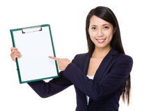 Businesswoman finger point to the blank page of clipboard Royalty Free Stock Photo