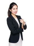 Businesswoman with finger point to front Royalty Free Stock Photos