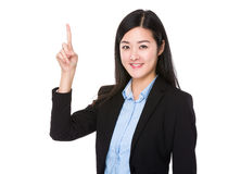 Businesswoman with finger point up Stock Photos
