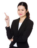 Businesswoman with finger point up Royalty Free Stock Image